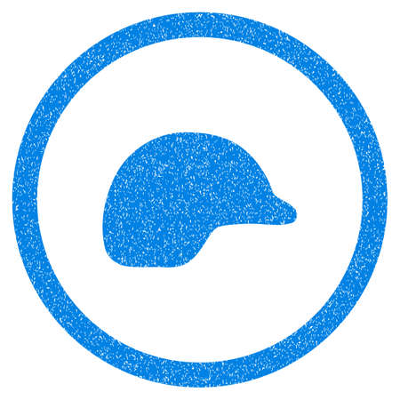 hard drive: Rounded Motorcycle Helmet rubber seal stamp watermark. Icon symbol inside circle with grunge design and dirty texture. Unclean vector blue emblem.