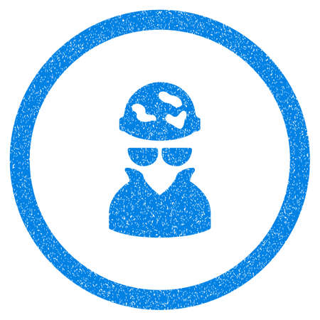 Rounded Spotted Spy rubber seal stamp watermark. Icon symbol inside circle with grunge design and scratched texture. Unclean vector blue sticker. Illustration