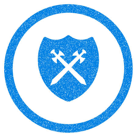 Rounded Security Shield rubber seal stamp watermark. Icon symbol inside circle with grunge design and dirty texture. Unclean vector blue emblem.