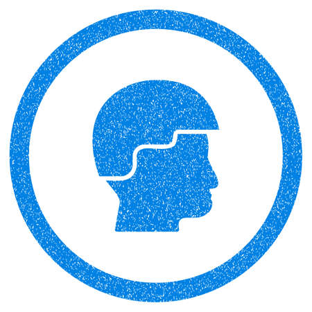 military draft: Rounded Soldier Helmet rubber seal stamp watermark. Icon symbol inside circle with grunge design and dirty texture. Unclean vector blue sticker.