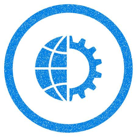 総: 丸みを帯びた世界の産業ゴムのシール スタンプの透かし。グランジ デザインと傷のテクスチャを円の中にアイコンのシンボル。汚れたグリフ青いス