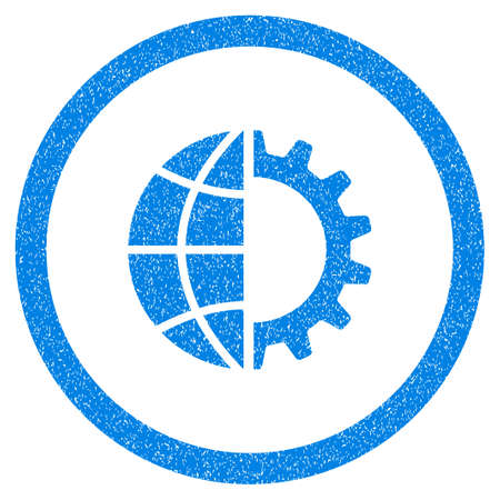 Rounded Global Industry rubber seal stamp watermark. Icon symbol inside circle with grunge design and scratched texture. Unclean glyph blue sticker. Stock Photo