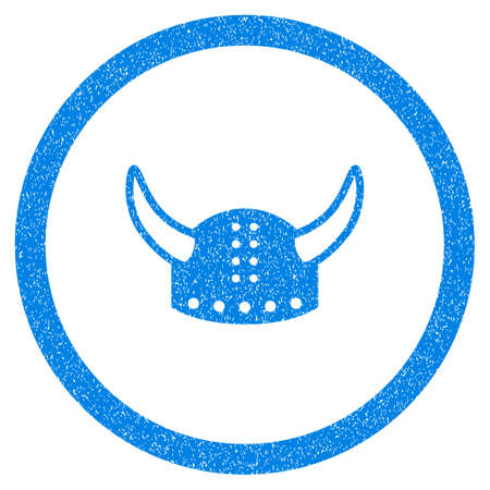 horned: Rounded Horned Helmet rubber seal stamp watermark. Icon symbol inside circle with grunge design and scratched texture. Unclean glyph blue emblem. Stock Photo