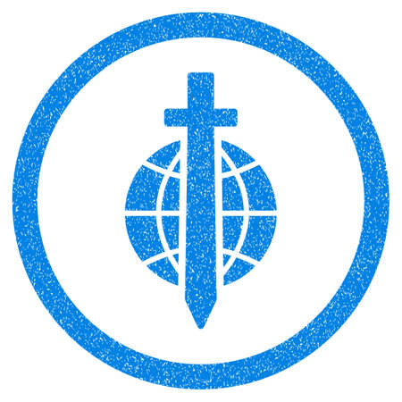 Rounded Sword Globe rubber seal stamp watermark. Icon symbol inside circle with grunge design and unclean texture. Unclean glyph blue emblem.