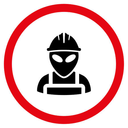 Alien Worker glyph bicolor rounded icon. Image style is a flat icon symbol inside a circle, intensive red and black colors, white background. Stock Photo