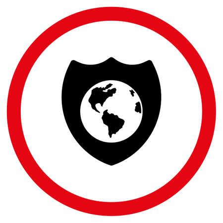 Earth Shield glyph bicolor rounded icon. Image style is a flat icon symbol inside a circle, intensive red and black colors, white background.