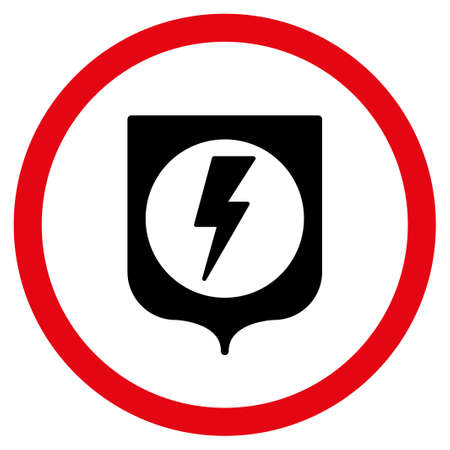 safeguards: Electric Protection glyph bicolor rounded icon. Image style is a flat icon symbol inside a circle, intensive red and black colors, white background.