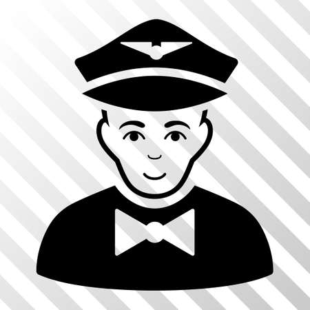 Black Airline Steward interface toolbar icon. Vector pictogram style is a flat symbol on diagonal hatch transparent background.
