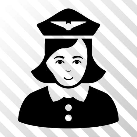 Black Airline Stewardess toolbar pictogram. Vector pictograph style is a flat symbol on diagonal hatch transparent background. Illustration