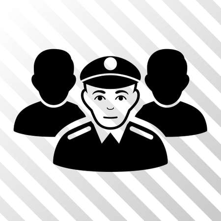 troop: Black Army Team toolbar pictogram. Vector pictograph style is a flat symbol on diagonal hatch transparent background.