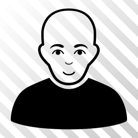 diagonally: Black Bald Man toolbar icon. Vector pictograph style is a flat symbol on diagonally hatched transparent background. Illustration