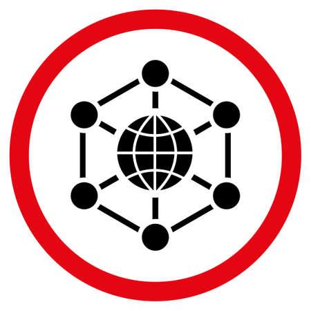総: グローバル Web グリフ二色丸いアイコン。画像のスタイルは、円、集中的な赤と黒の色、白い背景の中のフラット アイコン シンボルです。