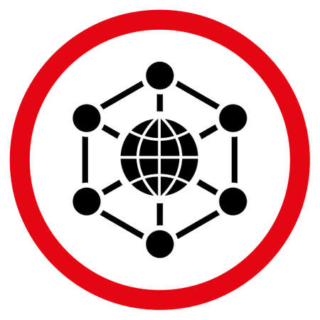 Global Web glyph bicolor rounded icon. Image style is a flat icon symbol inside a circle, intensive red and black colors, white background.