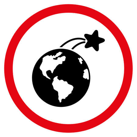 satelite: Rising Satellite On Earth glyph bicolor rounded icon. Image style is a flat icon symbol inside a circle, intensive red and black colors, white background. Stock Photo