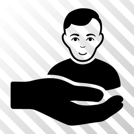 Black Customer Support Hand interface icon. Vector pictogram style is a flat symbol on diagonally hatched transparent background. Illustration