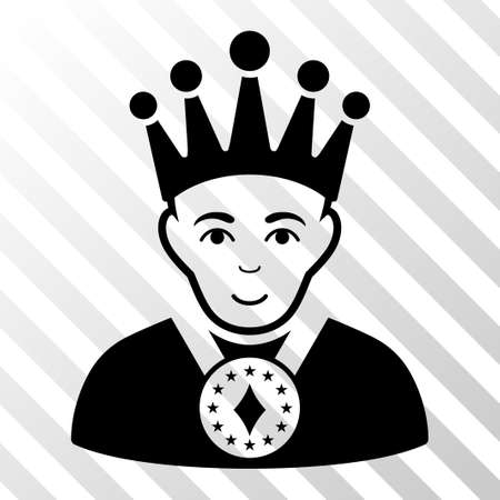 czar: Black King interface icon. Vector pictograph style is a flat symbol on diagonal hatch transparent background. Illustration