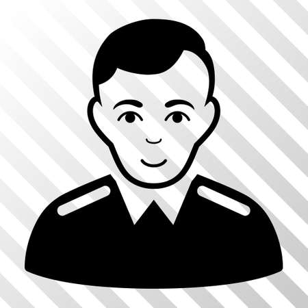 bobby: Black Officer toolbar icon. Vector pictogram style is a flat symbol on diagonally hatched transparent background.