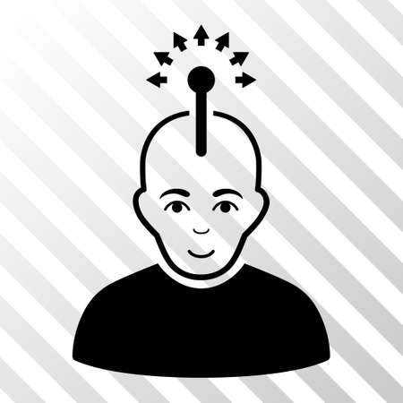 Black Optical Neural Interface toolbar pictogram. Vector pictogram style is a flat symbol on diagonal hatch transparent background.