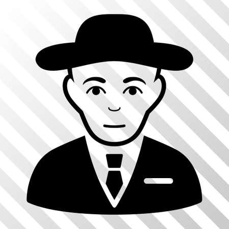 Black Secret Service Agent toolbar icon. Vector pictogram style is a flat symbol on diagonally hatched transparent background.