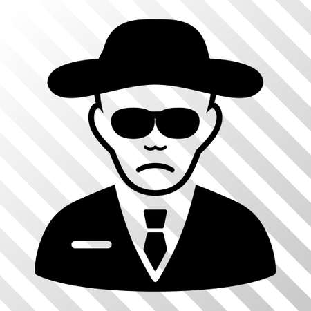 fbi: Black Security Agent toolbar icon. Vector pictogram style is a flat symbol on diagonally hatched transparent background.