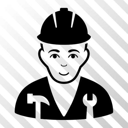 serviceman: Black Serviceman toolbar icon. Vector pictograph style is a flat symbol on diagonal hatch transparent background.