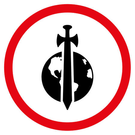 Earth Military Protection vector bicolor rounded icon. Image style is a flat icon symbol inside a circle, intensive red and black colors, white background.