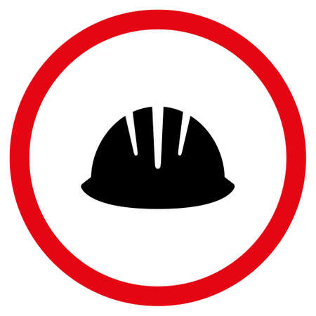 Builder Helmet vector bicolor rounded icon. Image style is a flat icon symbol inside a circle, intensive red and black colors, white background.