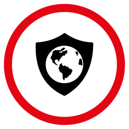 Earth Shield vector bicolor rounded icon. Image style is a flat icon symbol inside a circle, intensive red and black colors, white background.
