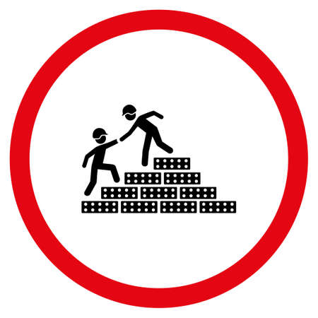 Builder Stairs Help vector bicolor rounded icon. Image style is a flat icon symbol inside a circle, intensive red and black colors, white background. Illustration