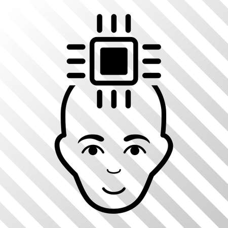 cerebra: Black Neural Computer Interface interface toolbar icon. Vector pictogram style is a flat symbol on diagonally hatched transparent background.