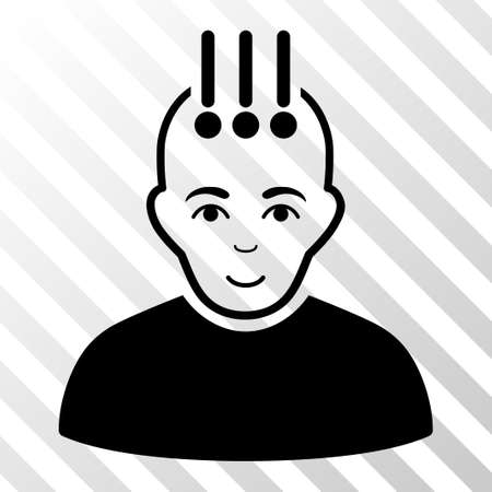 cranial: Black Neural Interface toolbar icon. Vector pictograph style is a flat symbol on diagonally hatched transparent background. Illustration
