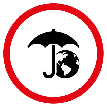 Earth Umbrella vector bicolor rounded icon. Image style is a flat icon symbol inside a circle, intensive red and black colors, white background. Illustration