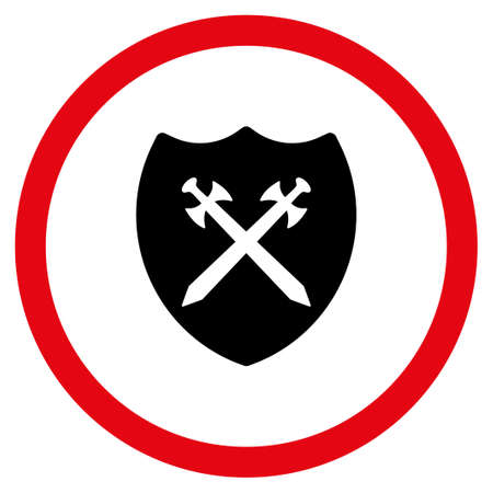 Security Shield vector bicolor rounded icon. Image style is a flat icon symbol inside a circle, intensive red and black colors, white background. Illustration