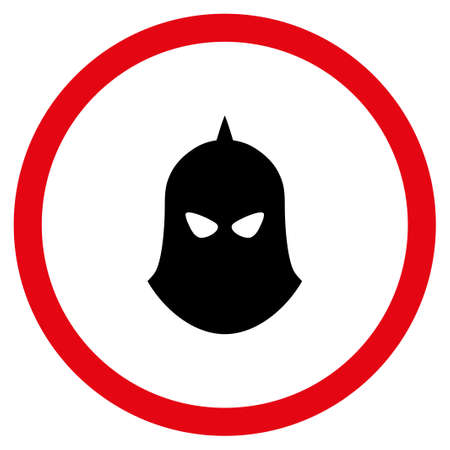 Knight Helmet vector bicolor rounded icon. Image style is a flat icon symbol inside a circle, intensive red and black colors, white background. Illustration