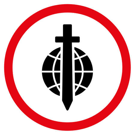 tyranny: Sword Globe vector bicolor rounded icon. Image style is a flat icon symbol inside a circle, intensive red and black colors, white background.