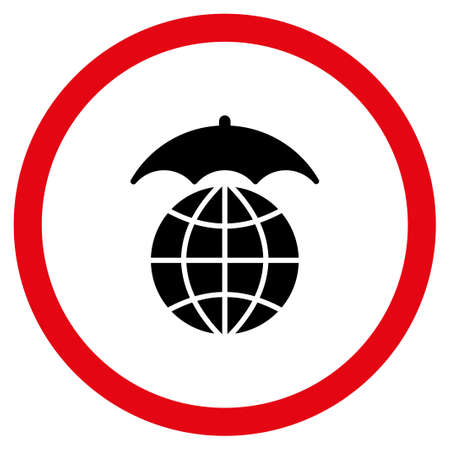 Global Umbrella vector bicolor rounded icon. Image style is a flat icon symbol inside a circle, intensive red and black colors, white background. Illustration