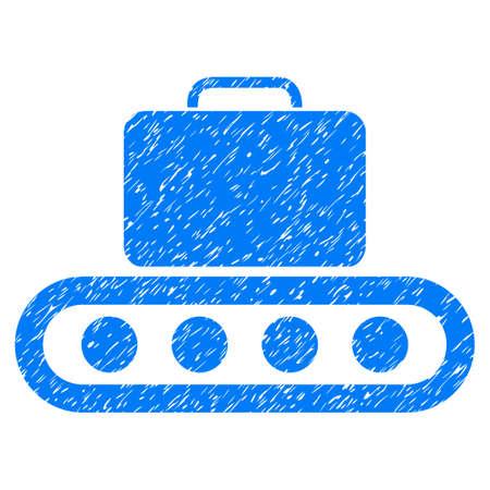 rulos: Transportador de equipaje icono de textura granulada para sellos de marca de agua de superposición. Símbolo plano con textura de polvo. Dotted vector sello de sello de goma de tinta azul con diseño de grunge sobre un fondo blanco. Vectores