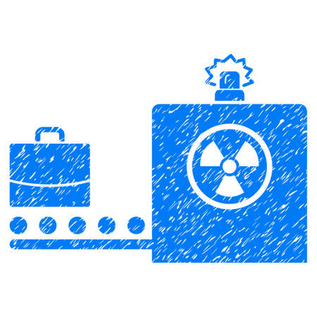 anti nuclear: Baggage Screening grainy textured icon for overlay watermark stamps. Flat symbol with dust texture. Dotted vector blue ink rubber seal stamp with grunge design on a white background.