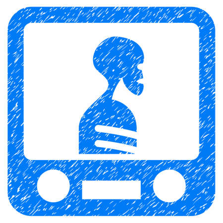 Xray Screening grainy textured icon for overlay watermark stamps. Flat symbol with unclean texture. Dotted vector blue ink rubber seal stamp with grunge design on a white background.