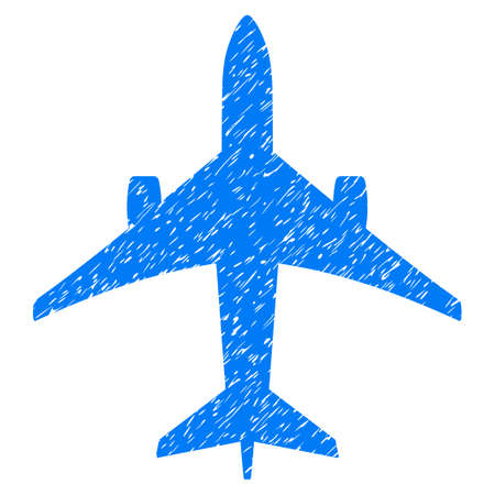 Jet Plane grainy textured icon for overlay watermark stamps. Flat symbol with dust texture. Dotted vector blue ink rubber seal stamp with grunge design on a white background.