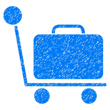 Luggage Trolley grainy textured icon for overlay watermark stamps. Flat symbol with dust texture. Dotted vector blue ink rubber seal stamp with grunge design on a white background. Illustration