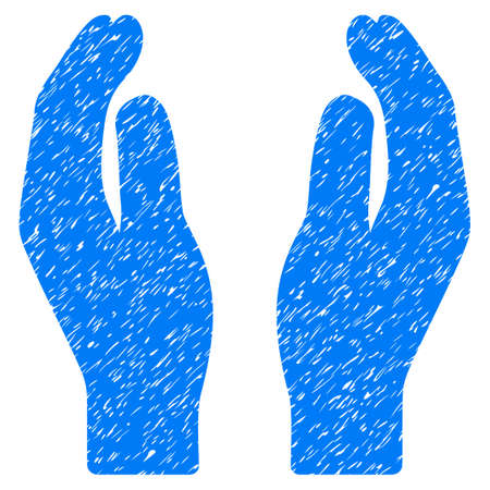 Care Hands grainy textured icon for overlay watermark stamps. Flat symbol with scratched texture. Dotted vector blue ink rubber seal stamp with grunge design on a white background.