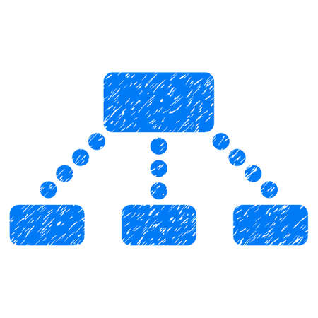 Hierarchy grainy textured icon for overlay watermark stamps. Flat symbol with dirty texture. Dotted vector blue ink rubber seal stamp with grunge design on a white background.