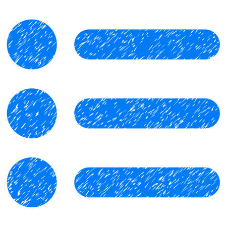 item list: Items grainy textured icon for overlay watermark stamps. Flat symbol with dirty texture. Dotted vector blue ink rubber seal stamp with grunge design on a white background.