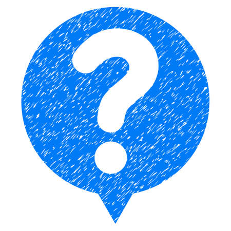 status: Status Balloon grainy textured icon for overlay watermark stamps. Flat symbol with dirty texture. Dotted vector blue ink rubber seal stamp with grunge design on a white background.