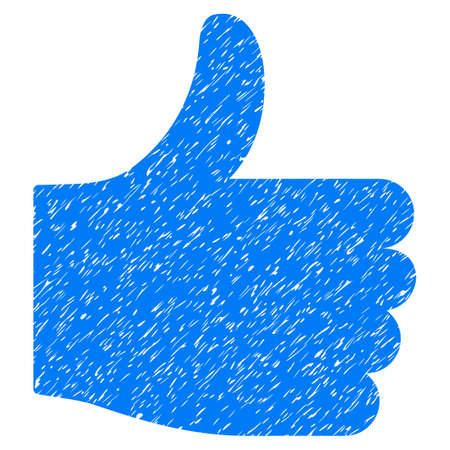 Thumb Up grainy textured icon for overlay watermark stamps. Flat symbol with dust texture. Dotted vector blue ink rubber seal stamp with grunge design on a white background.