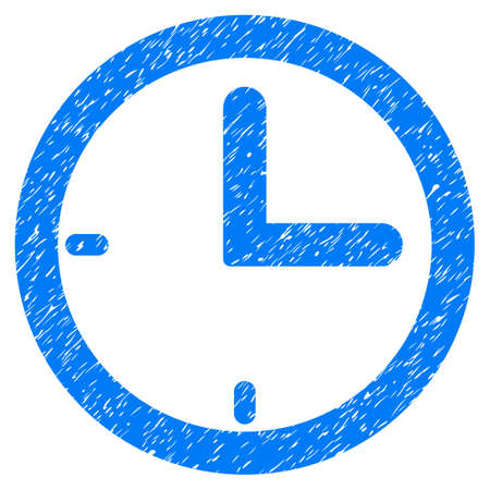 Time grainy textured icon for overlay watermark stamps. Flat symbol with unclean texture. Dotted vector blue ink rubber seal stamp with grunge design on a white background.