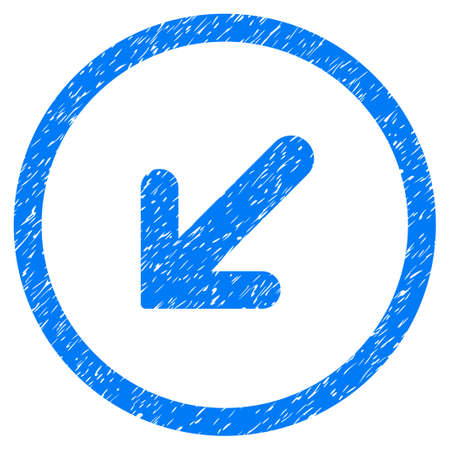 Rounded Arrow Left Down rubber seal stamp watermark. Icon symbol inside circle with grunge design and scratched texture. Unclean vector blue sticker. Illustration