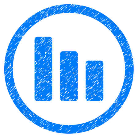 Rounded Bar Chart Decrease rubber seal stamp watermark. Icon symbol inside circle with grunge design and dust texture. Unclean vector blue sign.