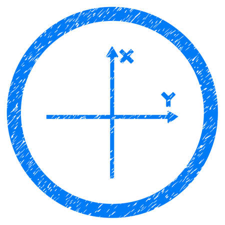Rounded Coordinate Axis rubber seal stamp watermark. Icon symbol inside circle with grunge design and unclean texture. Unclean vector blue emblem.